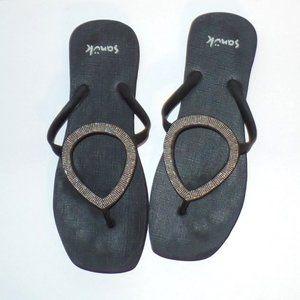 Sanuk Black Bling Thong Flip Flops Sandals 9-11